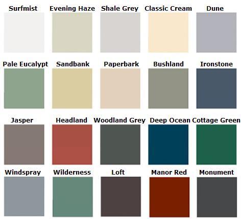 Colorbond Color Chart
